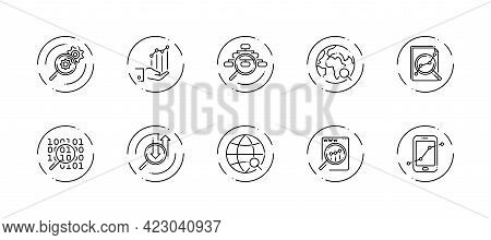 10 In 1 Vector Icons Set Related To Data Analysis Theme. Black Lineart Vector Icons Isolated On Back