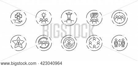 10 In 1 Vector Icons Set Related To Team Work Theme. Black Lineart Vector Icons Isolated On Backgrou