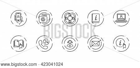 10 In 1 Vector Icons Set Related To Customer Support Theme. Black Lineart Vector Icons Isolated On B