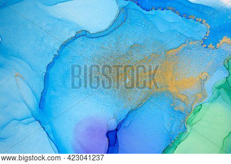 Watercolor Green And Blue Abstract Stains Background. Ink Gradient Texture.