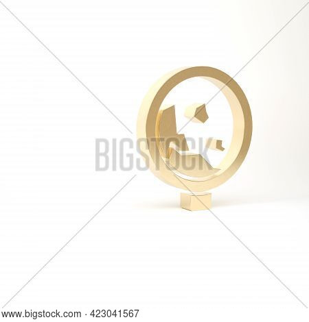 Gold Road Sign Warning Avalanche Rockfall Landslides Icon Isolated On White Background. Traffic Rule