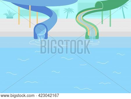 Water Park Flat Color Vector Illustration. Pipeline For Entertainment. Flowing Water In Tunnel Lane