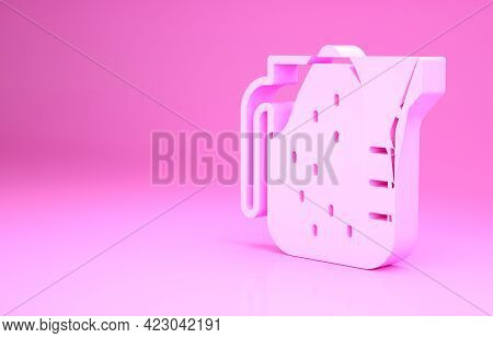 Pink Measuring Cup To Measure Dry And Liquid Food Icon Isolated On Pink Background. Plastic Graduate