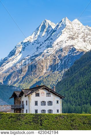 Evolene, Switzerland - June 1, 2021: A House In Evolene Is A Village In The Valley Of Herens In The