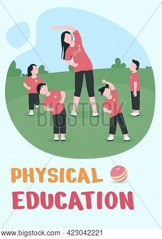 Physical Education Poster Flat Vector Template. Outdoor Exercise. Brochure, Booklet One Page Concept