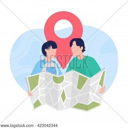 Planning Trip With Map 2d Vector Isolated Illustration. Searching For Vacation Place Abroad. Couple
