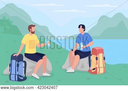 Trekkers Drink Water Flat Color Vector Illustration. Travelers On Vacation In Countryside. Backpacke