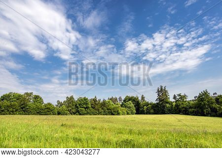 Spring Or Summer Landscape With Green Meadow, Forest And Blue Sky With White Clouds - Czech Republic
