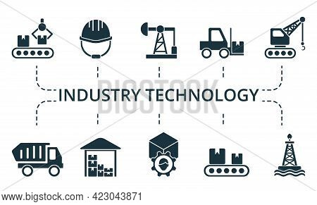 Industry Technology Icon Set. Contains Editable Icons Theme Such As Digger, Construction Plan, Dump