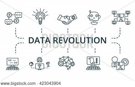Data Revolution Icon Set. Contains Editable Icons Theme Such As Computing, Digitization, Cybersecuri