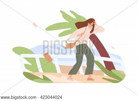 Person Going While Gust Of Strong Wind Blowing. Bad Gusty And Windy Weather Concept. Woman Wading Ou