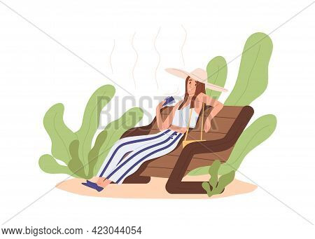 Heat And Hot Weather Concept. Person Sitting Outdoors, Feeling Bad And Tired Because Of High Tempera