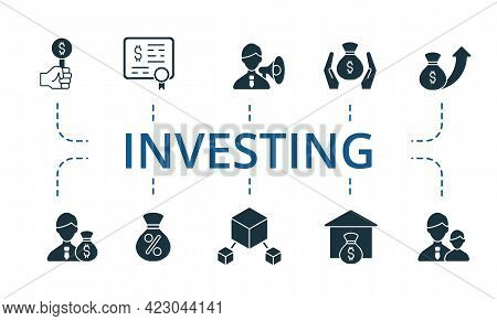 Finance Icon Set. Contains Editable Icons Investment Theme Such As Active Management, Bonds, Capital