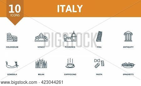 Italy Icon Set. Contains Editable Icons Italy Theme Such As Colosseum, Florence, Antiquity And More.