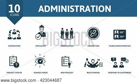 Administration Icon Set. Contains Editable Icons Management Theme Such As Interaction, Organization,