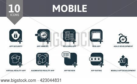 Mobile Icon Set. Contains Editable Icons Mobile App Development Theme Such As App Security, Building