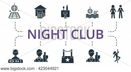 Night Life Icon Set. Contains Editable Icons Night Life Theme Such As Pub, Pole Dance, Dj And More.
