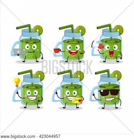 Kiwi Smoothie Cartoon Character With Various Types Of Business Emoticons