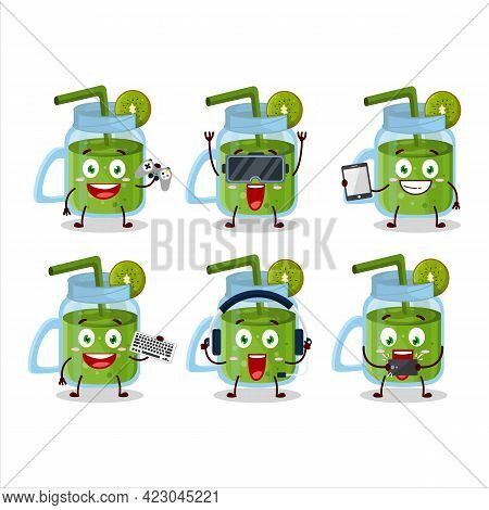 Kiwi Smoothie Cartoon Character Are Playing Games With Various Cute Emoticons
