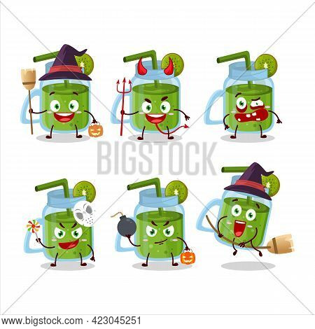 Halloween Expression Emoticons With Cartoon Character Of Kiwi Smoothie