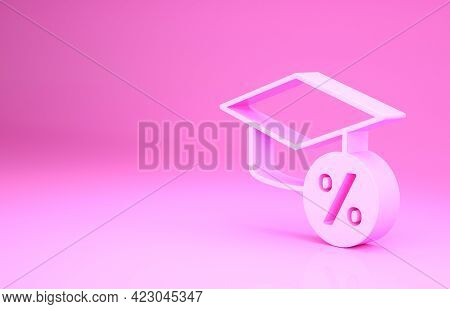 Pink Graduation Cap And Coin Icon Isolated On Pink Background. Education And Money. Concept Of Schol