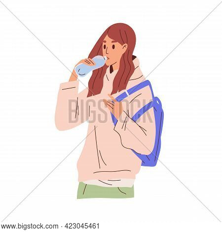 Young Woman Drinking Water From Plastic Bottle. Thirsty Female Character Standing With Refreshing Aq