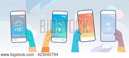 Human Hands Holding Smartphones With Daily Temperature Mobile App Weather Forecasting And Meteorolog