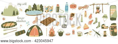 Big Set Of Vector Illustrations Of Tourism And Camping Equipment In Flat Style.  Hand Drawn Isolated