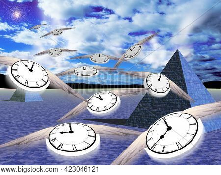 Eternal pyramids. Winged clocks represent flow of time. 3D rendering.