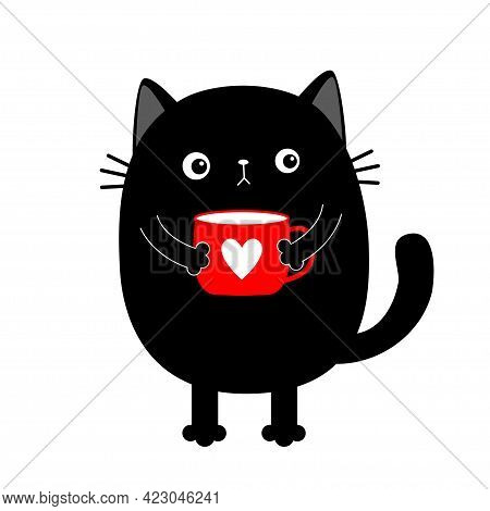Cat Kitten Holding Coffee Cup Heart. Sad Grumpy Bad Emotion Face. Cute Cartoon Kitty Character. Kawa