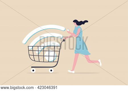 Mobile Online Shopping, App Or Website E-commerce Website Easy To Buy And Purchase Products Concept,