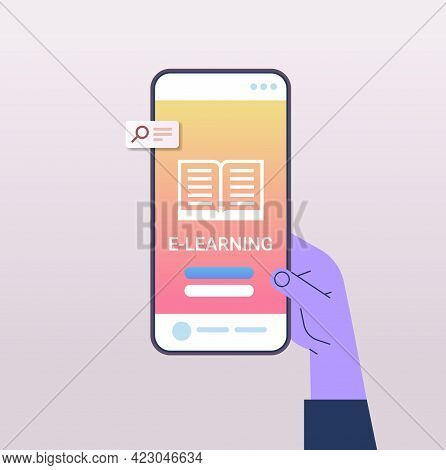 Human Hand Using Mobile Educational App On Smartphone Screen Online Education E-learning Concept