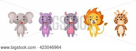 Cute African Animals Set. Collection Funny Animals Characters For Kids Cards, Baby Shower, Birthday