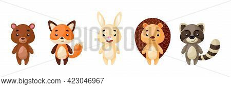 Cute Woodland Animals Set. Collection Funny Animals Characters For Kids Cards, Baby Shower, Birthday