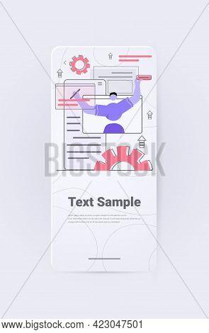Man Developer Creating Website Ui Interface Web Application Development Program Software Optimizatio