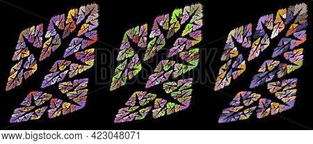 Abstract Colorful Trees At An Angle On A Black Background. Seamless Pattern. Abstract Fractal Backgr