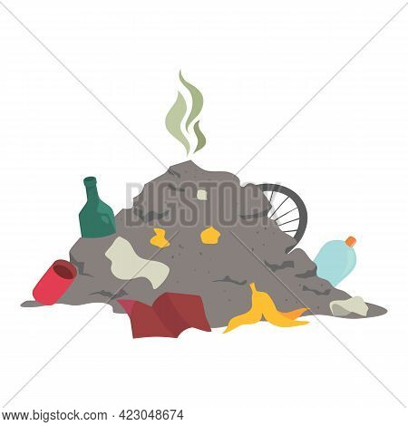 City Garbage Pile Icon. Cartoon Of City Garbage Pile Vector Icon For Web Design Isolated On White Ba