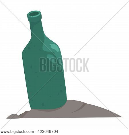 Garbage Glass Bottle Icon. Cartoon Of Garbage Glass Bottle Vector Icon For Web Design Isolated On Wh