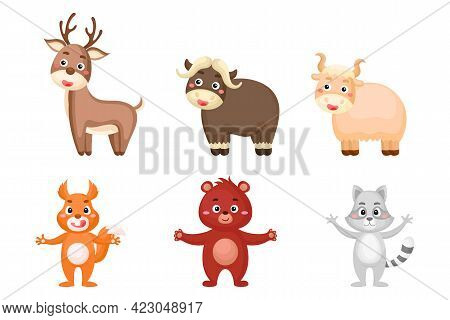 Set Of Woodland Animals In Cartoon Style. Cute Animals Characters For Kids Cards, Baby Shower, Birth