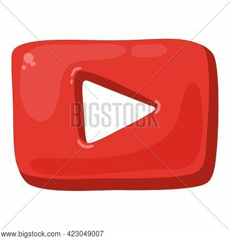 Video Play Button Icon. Cartoon Of Video Play Button Vector Icon For Web Design Isolated On White Ba