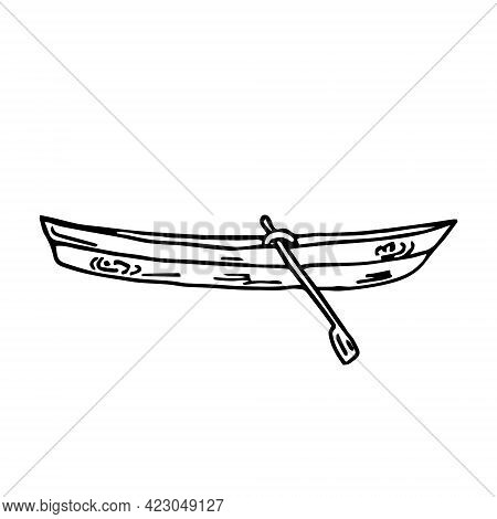 Doodle Boat Wooden With Oars On A White Background