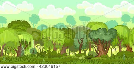 Forest. Illustration. Seamless. Landscape Of Nature. Cartoon Flat Style. Grass And Bushes. Summer Sc