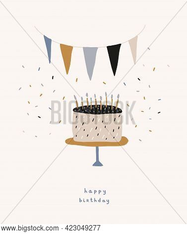 Cute Birthday Party Vector Card. Hand Drawn Birthday Cake With Blue Candles And Party Garland On A L