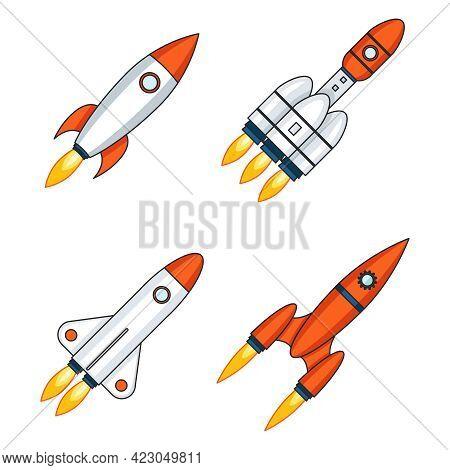 Lineart Outline Space Rocket Start Up Launch Innovation Development Technology Icons Design Set Temp