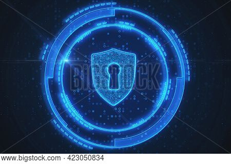 Abstract Glowing Shield With Lock On Blue Background. Antivirus And Protection Concept. 3d Rendering