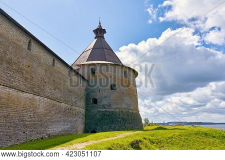 View Of The Old Stone Fortress With A Watchtower. Fortress Oreshek On A Sunny Summer Day