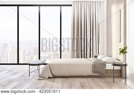 Amazing City View From Floor-to-ceiling Window In Sunny Stylish Bedroom With Parquet, Modern Bed And