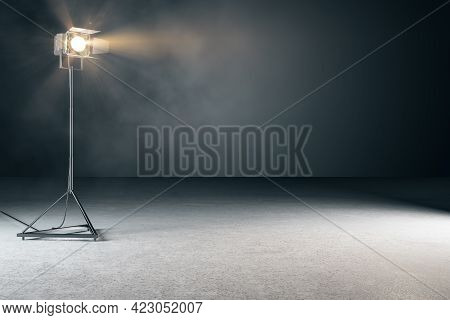 Creative Concrete Photo Studio Backdrop With Lamps And Mockup Place. 3d Rendering