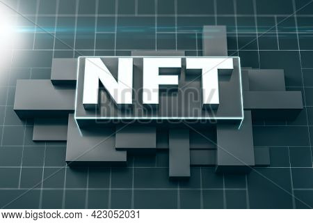 Nft Nonfungible Tokenscrypto Concept With White Nft Letters On Abstract Squared Backdrop With Black