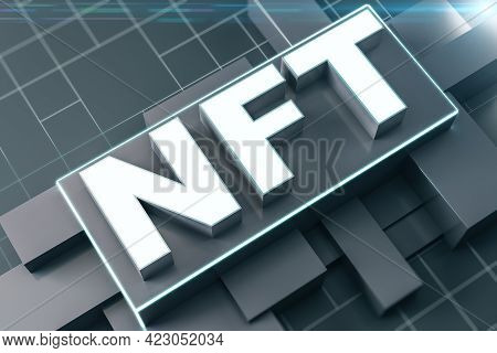 Nft Nonfungible Tokens Concept - Nft Word In Black Frame On Abstract Technology Background. 3d Rende